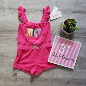 JUICY COUTURE pink terry rainbow logo romper